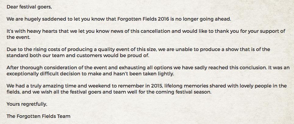 Forgotton Fields statement